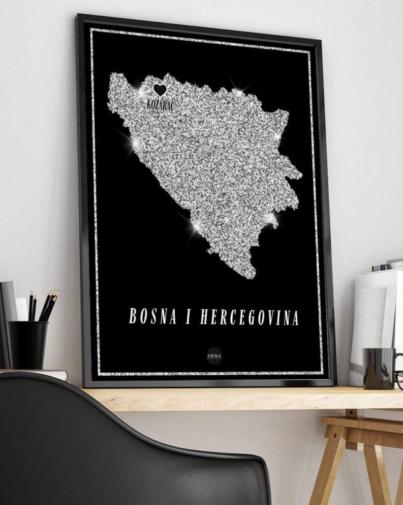 Karta Bih Silver Map Arna Designs