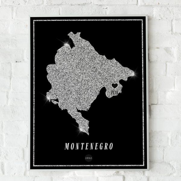 Crna Gora Silver Map