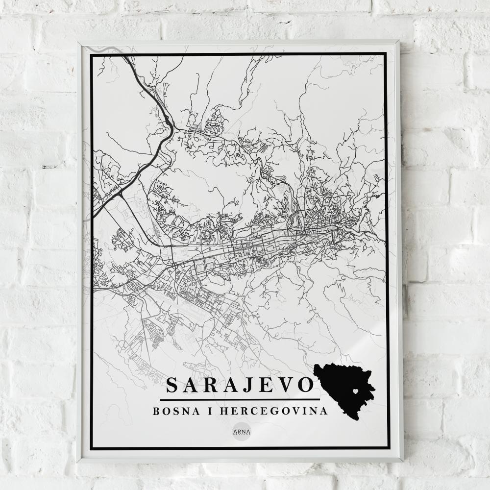 Mapa Sarajevo Arna Designs